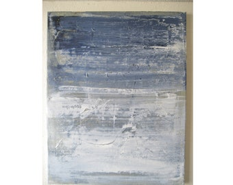 Original Small Abstract Painting 168 Expressionism Minimalist Neutral Blue and White Beige Canvas Gallery Wall Art 16x20 Modern Contemporary