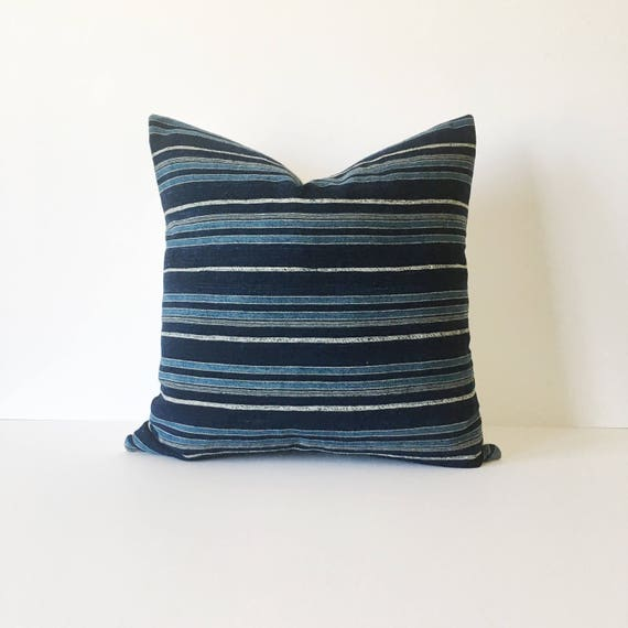 20 X 20 Indigo and Ivory Striped Pillow Cover