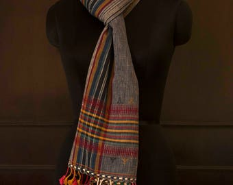Pure cotton dhabda bluish grey handwoven stole with multicoloured threads and tassels