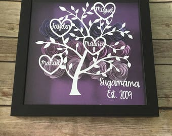 Family Tree Picture Frame Shadowbox Wedding Anniversary Gift Housewarming Mothers Day