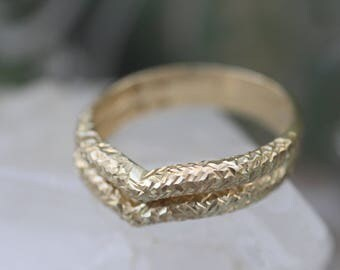 Set of Two - 14k Yellow Gold Textured Chevron Stacking Rings 2 Stacked