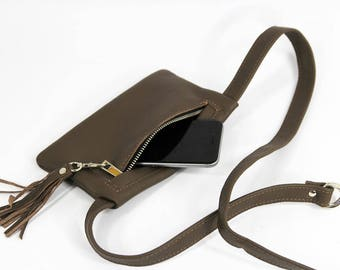 Fanny Pack,  Leather Pouch Belt, Hip Bag, Leather Waist Bag, Leather Pouch, Belt bag, Fanny Pack, Leather Woman Bag - 5