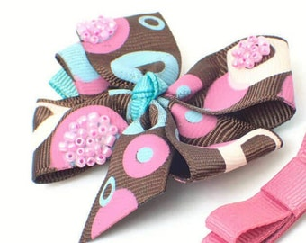 2Pc Hair bows for toddlers hair bows for girls girls hair bows pink brown hair bow hair clips for girls kids hair accessories baby girl bows