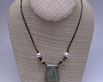 Ceramic and Cultured Pearl Necklace