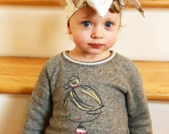 Girl & Fox Headwrap- Girl Headband; Girls Headwrap; Girl Bow; Fox Headband; Fox Headwrap; Fox Bow; Baby Headband; Toddler Headband; Bows