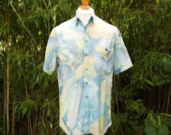 Vintage Short Sleeved Marble Print Shirt  Size - Medium