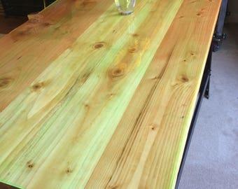 Farmhouse wood table . Repurposed workbench base