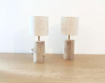 set of 2 lamps - nightstands - Driftwood logs - round linen Lampshade - seaside - deco Navy - deco slow