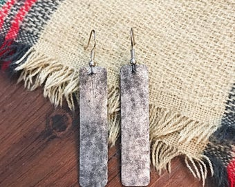 Chrome Silver Metallic Rectangle Leather Earrings