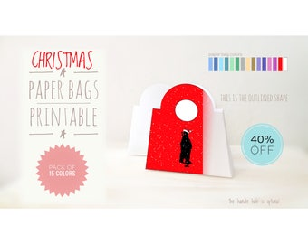 PACK of 15 Christmas paper bags in 15 colors, 40% off, DIY, printable, Bear, diy Christmas, gift packaging, Christmas art, holiday decor,box