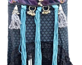 Bellydance Belt purple /Tribal dance belt/Tribal fusion/Tribal dance adornement/Ceinture DanseTribale