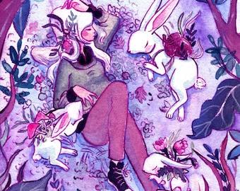 Rabbit Familiars. Watercolor Illustration Print.