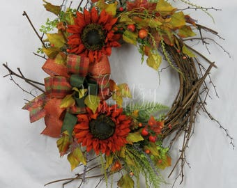 Fall Wreath for door-Autumn Wreath-Sunflower Wreath-Front Door Wreath-Fall Sunflower Wreath-Fall Wreath For Front Door-Autumn Door