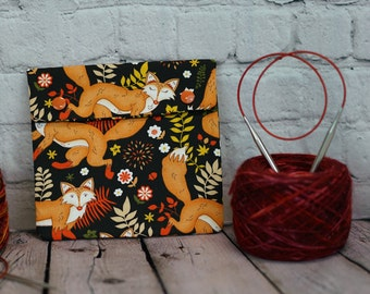 Autumn Fox Circular Knitting Needle Case or Notions case for Knitting Notions, Circular Needle Case, Crochet notions case, Accessories case