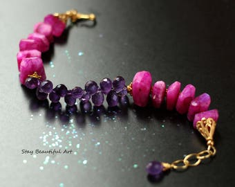 Hot Pink Moonstone and Purple Amethyst Gemstone Bracelet Gold Vermeil components Women's colorful Jewelry