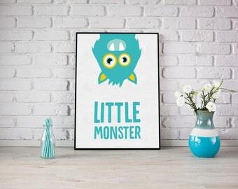 Little Monster print - kids wall art - monster art - monster nursery prints - boys bedroom - boys room - girls room - monster decor