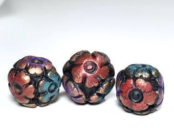 Colorful Flower Beads, Bohemian Floral Beads, Handmade Textured Beads, Rustic Beads, For Jewelry Making, Set Of Three, Polymer Clay Beads,