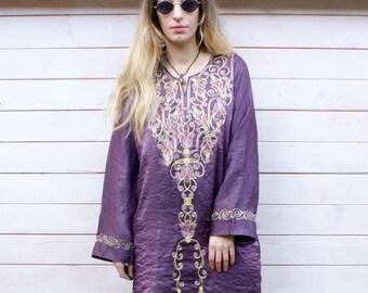 Vintage Indian Embroidered Kaftan Mini Dress