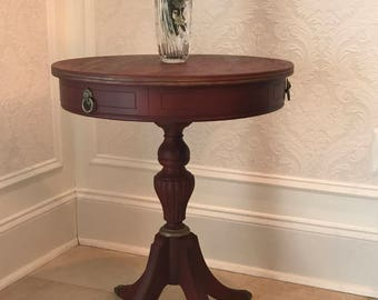 Vintage Red Drum Accent Table