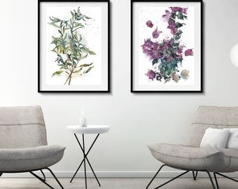 living room posters. Liusa and Bougainvillea Aquarelle  Set of 2 Botanical Herb Prints Watercolor Posters Living room poster Etsy