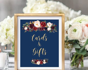 Cards And Gifts Sign, Gift Table Sign, Gift Table Reception Sign, Printable Wedding Sign, Navy Blue, Foral Watercolor,Burgundy Marsala #A003