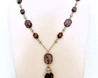 Lavender Bead Tassel Necklace     GJ3027