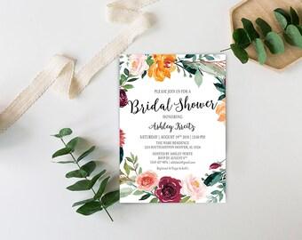 Watercolor Bridal Shower invitation, Bridal shower invitation, Rustic bridal shower invitation, Floral Bridal Shower - US_BI1309