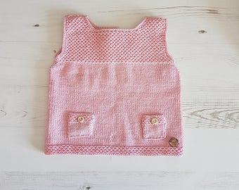 Knitted Baby Dress, Hand Knit Dress, Pinafore Dress, Baby Shower Gift, Baby Gift, Baby Girl, Baby Girl Outfit, Kids Knitwear, Newborn Gift