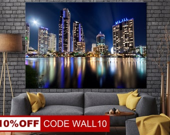 Queenland, Australian canvas, City wall art, Night city canvas, Queenland canvas, Queenland wall art, Queenland print, Night city wall art