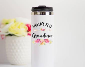 World's Best Grandma Travel Mug, Grandma Travel Mug, Grandma Stainless Steel Travel Mug, Nana Mimi Travel Mug, Grandma Gift, Best Grandma