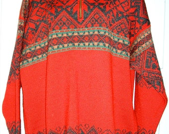 SALE, Vintage, Dale of Norway, red, wool, pullover, ski sweater, XL, MINT condition, as new