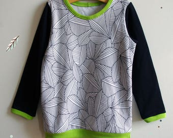 Organic t shirt for boy / mixed, printed leaves