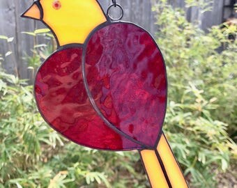 Red Heart-Yellow Bird Suncatcher