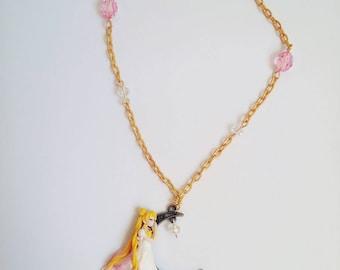 Sailor Moon Princess Serenity sleeping on the moon necklace