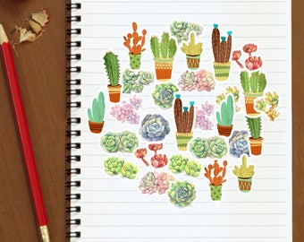 30 PCS Succulents - Planner Stickers for Scrapbooking