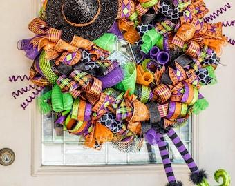 Witch Legs Wreath, Halloween wreath, Fall wreath, Halloween wreath for front door, Halloween witch wreath, autumn wreath, Witch is In
