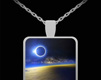Eclipse Necklace Actual Photograph of Total Solar Lunar Eclipse Jewelry Valentine Birthday Anniversary Present