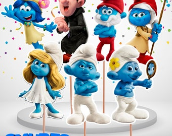 9 Smurfs Centerpieces Double-Sided/Printable/The Smurfs Cake Toppers/The Smurfs Party/Smurfs The Lost Village