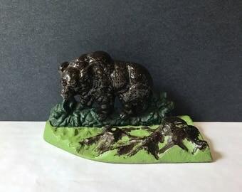 Aluminum Bear Figurine - Painted Metal Mold of a Grizzly Bear Scene Statue / Folk Art