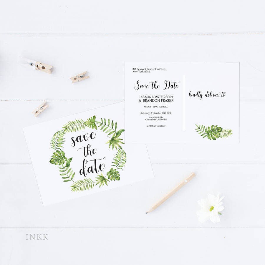 Save the Date Postcard, Save the Date Template, Tropical Hawaii ...