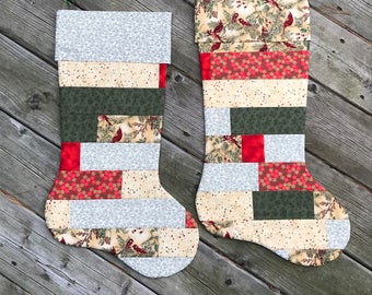 Quilted Handmade Christmas Stocking - Vintage look, Victorian colours gold red green with red cardinals