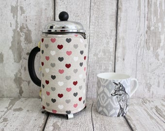 Coffee Cozy with Retro Hearts. Coffee Lovers Gift. French Press Cozy. Retro Decor. Coffee Pot Cozy. Retro Housewares. Cafetiere Cozy.