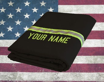 Personalized Firefighter Turn-out Gear BLACK Station Blanket