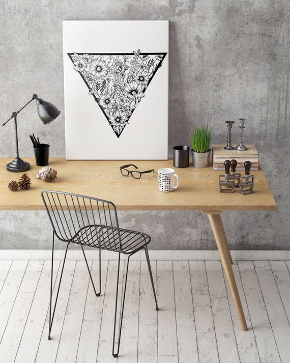 Triangle flowers | Framed Canvas | Wall decor | Ink Illustration | Tattoo art | Black and white | Floral art | Geometric drawing | ZuskaArt