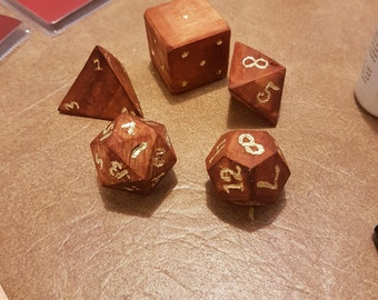 Hand carved wooden polyhedral dice for D&D 7 set