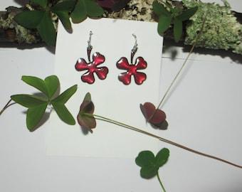 Clover leaf earrings enamel fire