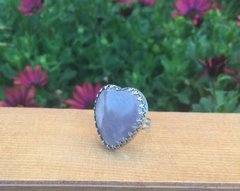 Rose Quartz Heart Ring / Rose Quartz Ring Size 7 / Sterling Silver Ring / Large Rose Quartz Statement Ring / Silver Rose Quartz Jewellery