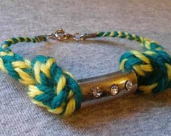 Teal and yellow bracelet