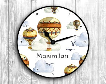 Wall clock with name, hot air balloons, children's room