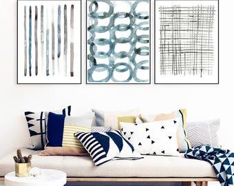 Set of 3 prints,blue gray printables,wall art set of 3,contempirary prints,minimalist wall art,instant download printable art,watercolor art